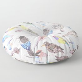 Birds of America- pets and wild birds in stained glass Floor Pillow