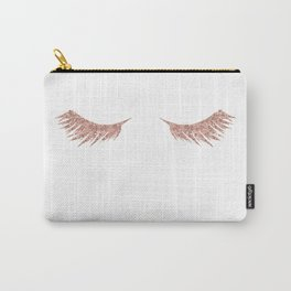 Pretty Lashes Rose Gold Glitter Pink Carry-All Pouch
