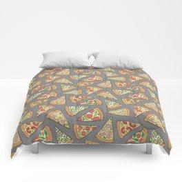 Pizza on Dark Grey Comforters