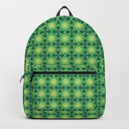 Shades of Green | Abstract Flowers | Geometric Pattern | Green and White | Backpack