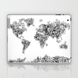 floral world map black and white Laptop & iPad Skin