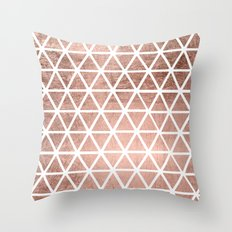Geometric faux rose gold foil triangles pattern Throw Pillow