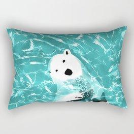 Playful Polar Bear In Turquoise Water Design Rectangular Pillow