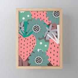 Pink strawberries and sweet flowers Framed Mini Art Print