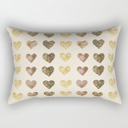 Gold and Chocolate Brown Hearts Rectangular Pillow