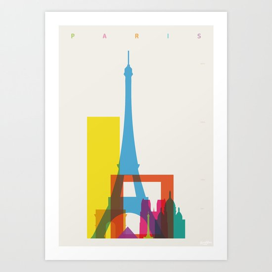 Shapes of Paris. Accurate to scale. Art Print