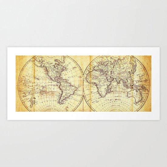 The world in hemispheres 1825 Art Print