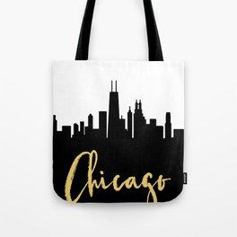 CHICAGO ILLINOIS DESIGNER SILHOUETTE SKYLINE ART Tote Bag