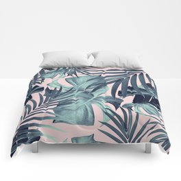 Tropical Jungle Leaves Pattern #8 #tropical #decor #art #society6 Comforters