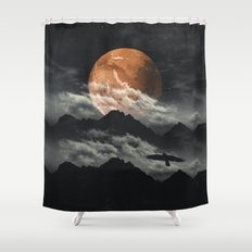 Spaces III - Mars above mountains Shower Curtain
