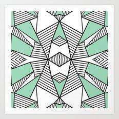 Triangle Tribal Mint Art Print