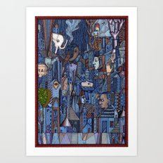 White Elephant in the Blue City Art Print