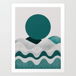 Green moon Art Print