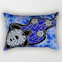 Baby Sea Turtles - Aboriginal Art Rectangular Pillow
