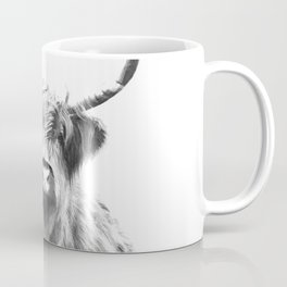 Black and White Highland Cow Portrait Coffee Mug