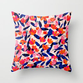 Red and blue florals and leaves Throw Pillow