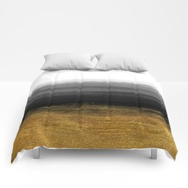 Black and Gold grunge stripes on clear white backround I - Stripes - Striped Comforters