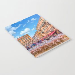People in Nice Plaza with Fountain Notebook