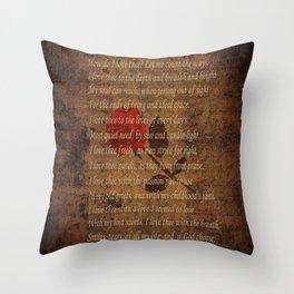 Vintage Poem 4 Throw Pillow