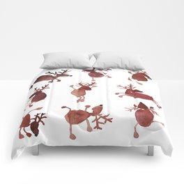 Santa's Dancing Reindeer Watercolor Comforters