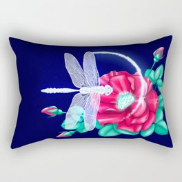 Full bloom   Dragonfly loves roses Rectangular Pillow