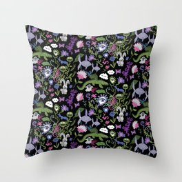 Funny fantasy pattern with meat eating plants Throw Pillow
