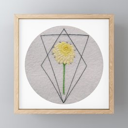 Embroidered yellow dahlia Framed Mini Art Print