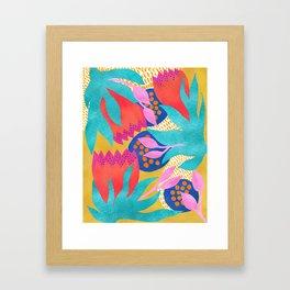 Bold Flower Pattern Yellow Background Framed Art Print