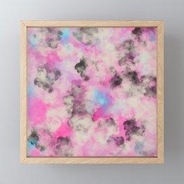 Artsy bright pink teal black abstract watercolor Framed Mini Art Print