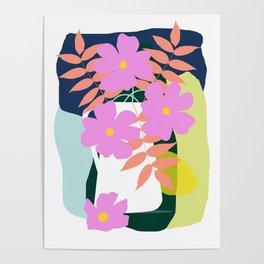 Mid Century Modern Art Home Decor Wall Art Still Life Flowers in Vase Minimalism Poster