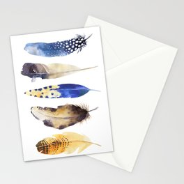 Colorful Magical Mystical Feathers Watercolor Painting Nature Patterns White Background Stationery Cards