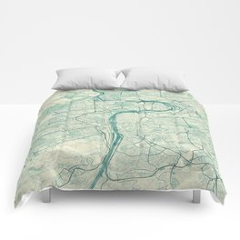 Prague Map Blue Vintage Comforters