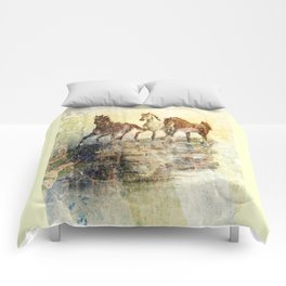 Vintage Horses Colours Comforters