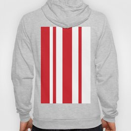 Mixed Vertical Stripes - White and Fire Engine Red Hoody