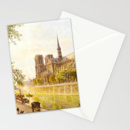 L'lle de la Cite and the Cathedral of Notre Dame, Paris from Quai Montebello by Firmin Girard Stationery Cards