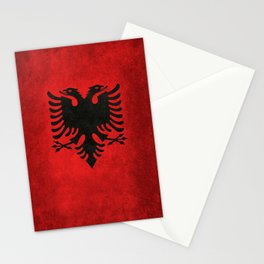 """Flag of Albania - in """"Super Grunge"""" Stationery Cards"""