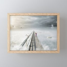 Bird flying and little girl with fantasy opposite weather sky Framed Mini Art Print