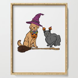 Halloween Dog & Cat Witch Animal Friends Serving Tray