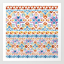 Geometric colorful Watercolor Pattern Art Print