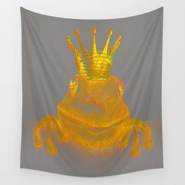 Simple Golden King Frog on Grey Day Wall Tapestry