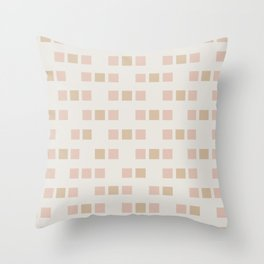 Cubed - Soft Minimalist Geometric Pattern in Pale Blush and Sand  Throw Pillow