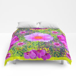 Yellow Pattern Pink Roses & Purple Orchids Abstract Comforters