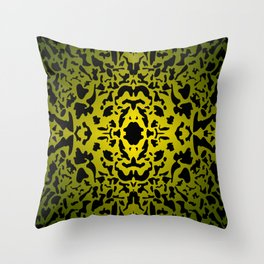 Openwork ornament of yellow spots and velvet blots on black. Throw Pillow