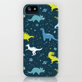 Space Dinosaurs in Bright Green and Blue iPhone Case
