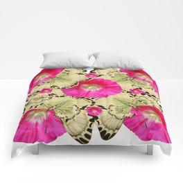 FUCHSIA PINK HOLLYHOCKS YELLOW BUTTERFLIES Comforters