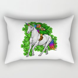 Leprechaun Rides Unicorn | Happy St. Patrick's Day Rectangular Pillow