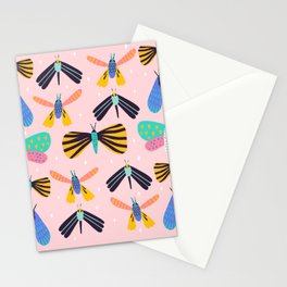 Colorful moth pattern Stationery Cards