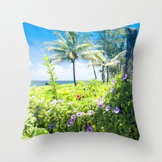 Ipomoea Keanae Morning Glory Maui Hawaii Throw Pillow