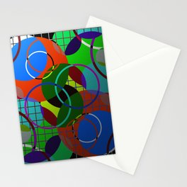 Caged Geometry - Abstract, metallic, geometric, rainbow coloured circles Stationery Cards