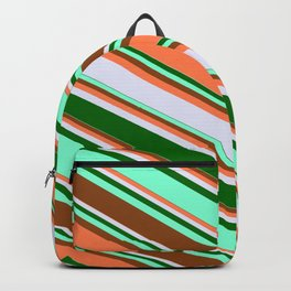 Eyecatching Brown, Coral, Lavender, Dark Green & Aquamarine Colored Lines Pattern Backpack